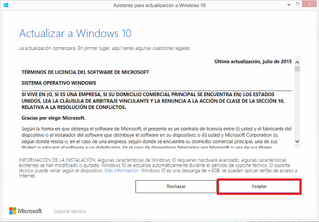 Asistente para actualización a Windows 10.