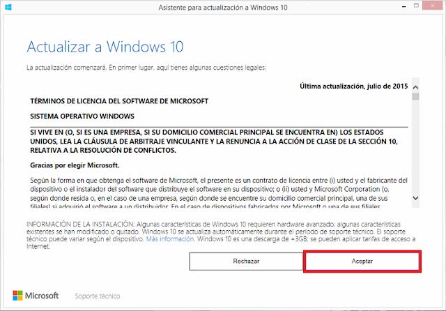 Asistente para actualización a Windows 10.