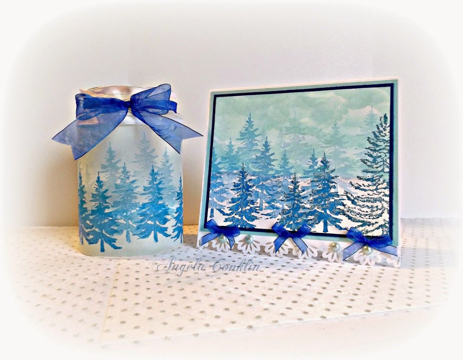 Repurposed Jar Craft: Winter Landscape Card and Candle Gift Set