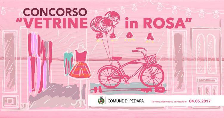 vetrine in rosa a pedara per il giro d'italia
