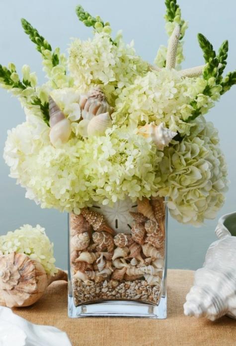 Hydrangea Flower Arrangement Glass Vase with Shells