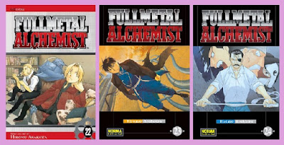 portadas de los tomos 22 a 24 del manga Fullmetal Alchemist