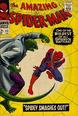 Amazing Spider-Man #45, the Lizard closes in on an injured Spider-Man who has his arm in a sling against a yellow background of webbing, John Romita cover