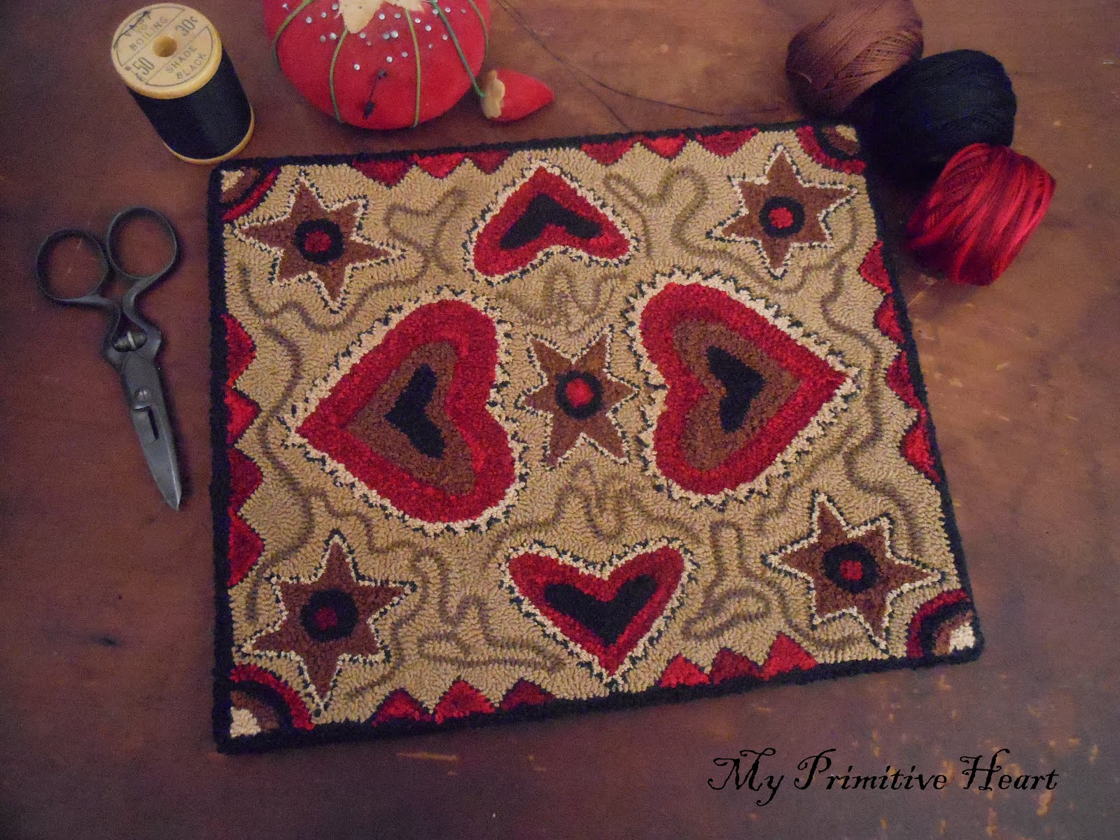 FOLK ART HEARTS PUNCH NEEDLE PATTERN - $8.00