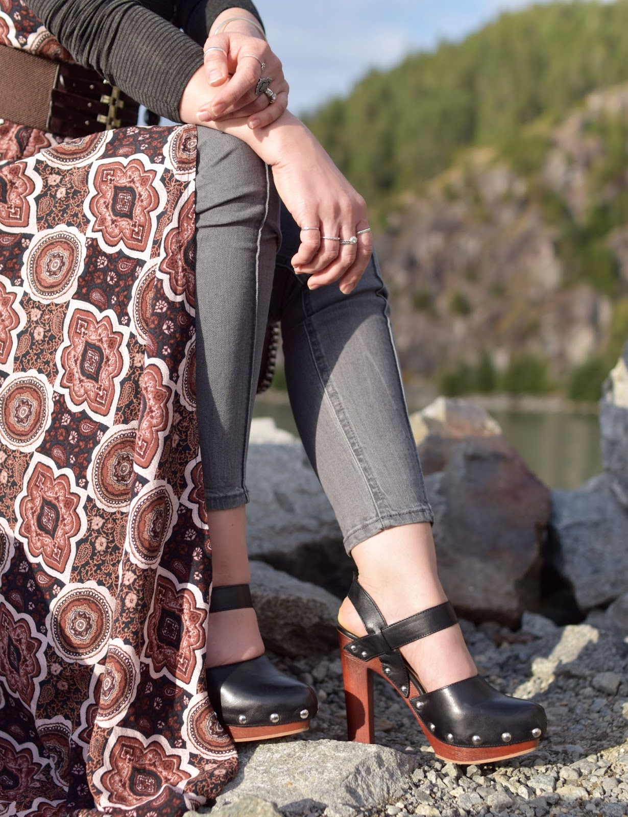 patterned wrap-front slip dress, grey skinny jeans, Vince Camuto shoes