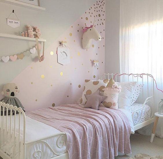 Quarto de menina branco rosa e dourado, decoração, cor, estilos e muitas idéias
