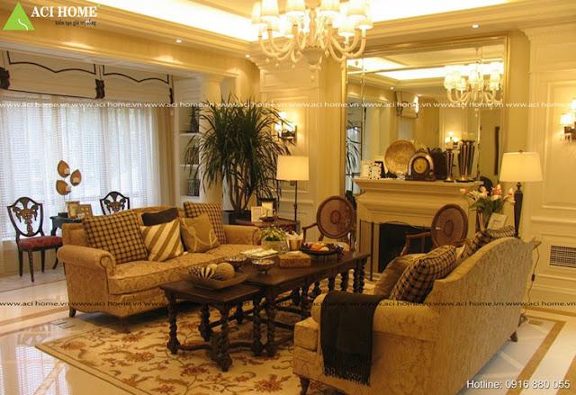 THiết kế nội thất cổ điển phòng khách