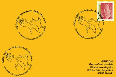 Tarjeta del matasellos del Día del Jurado en la EXFILNA de Avilés, homenaje a Luis María Fernández Canteli
