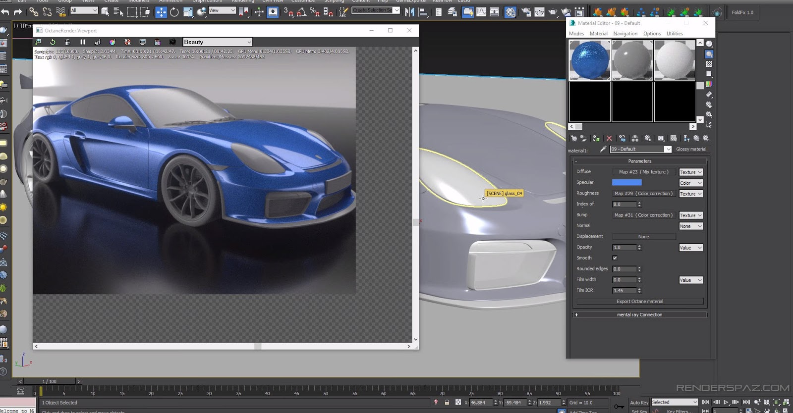Octane for 3ds max tutorial car paint material cg tutorial for 3ds max design