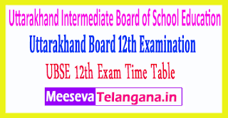 Uttarakhand Intermediate Board of School Education 12th Time Table