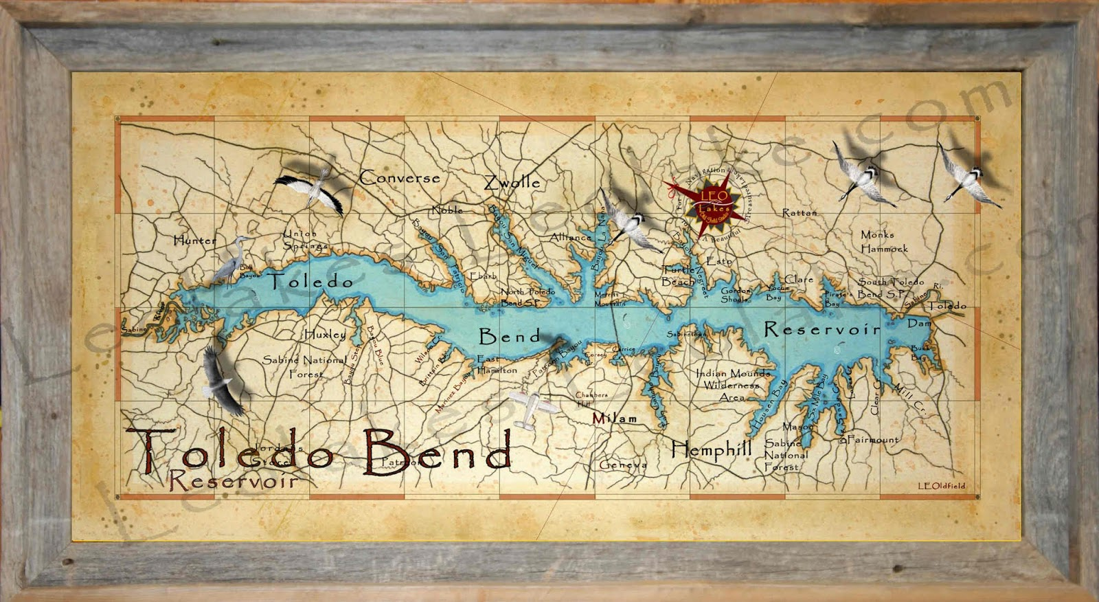 map of toledo bend lake Leo Lakes Toledo Bend Lake Map map of toledo bend lake