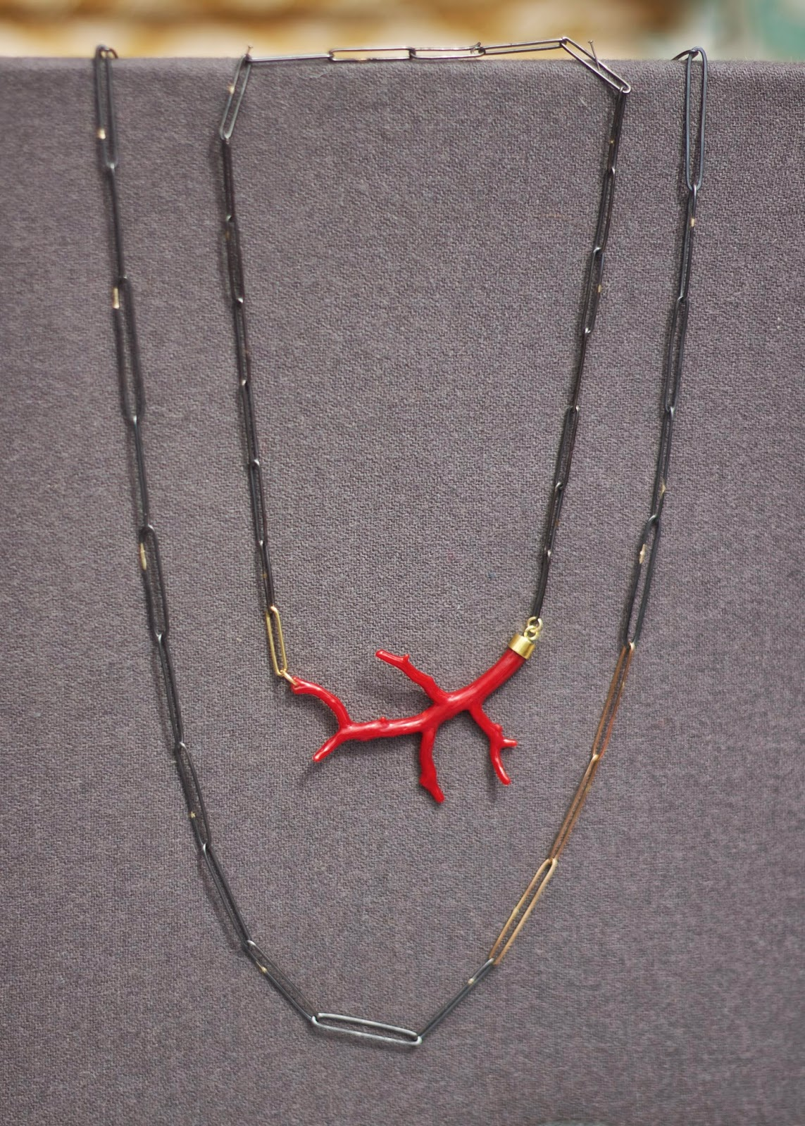 Meander Works Jewelry, Meander Works red coral necklace, meander works, jewelry in san diego, jewelry maker in san diego