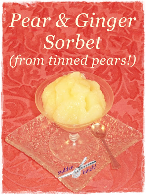 easy pear and ginger sorbet from tinned pears