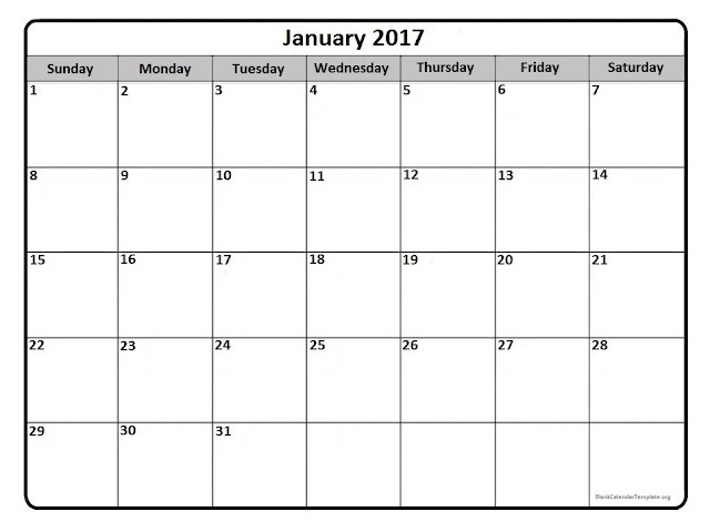 January 2017 Calendar PDF, January 2017 Calendar Word, January 2017 Calendar Excel