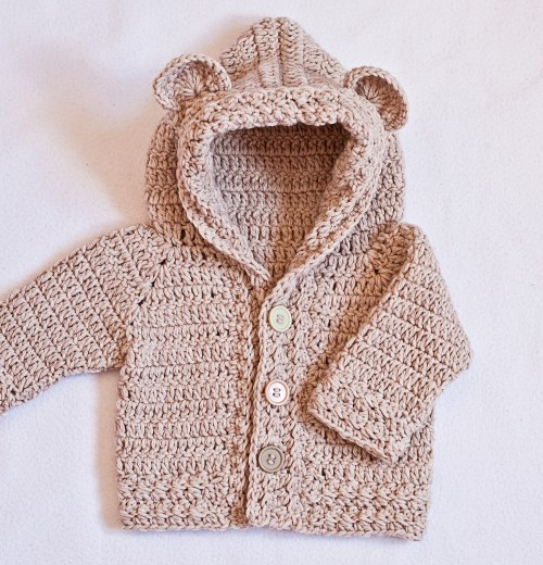 Bear Hooded Cardigan - Crochet Pattern