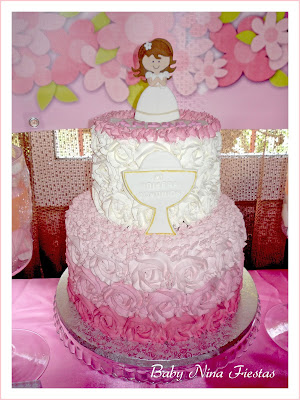 tarta comunion rosas