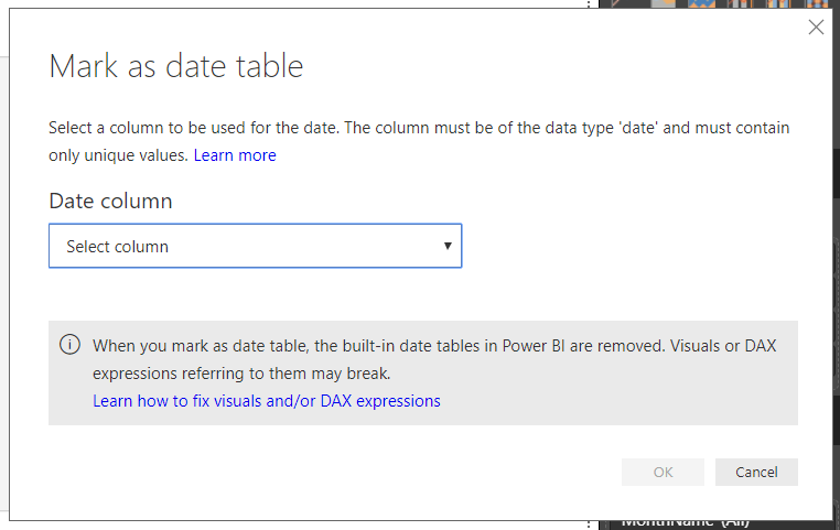 Mark as Date Table Feature in Power BI