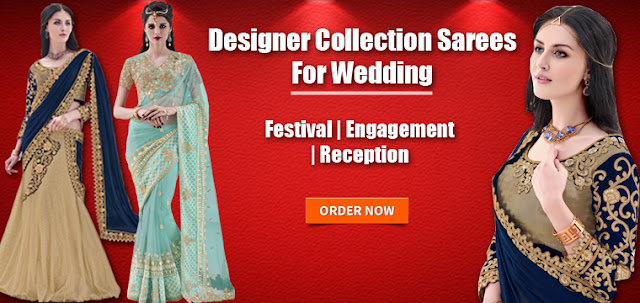 Fancy and fashionable marriage reception party engagement annivasery wear designer collection sarees and lehenga sarees online with discount offer deal and sale at lowest prices in India