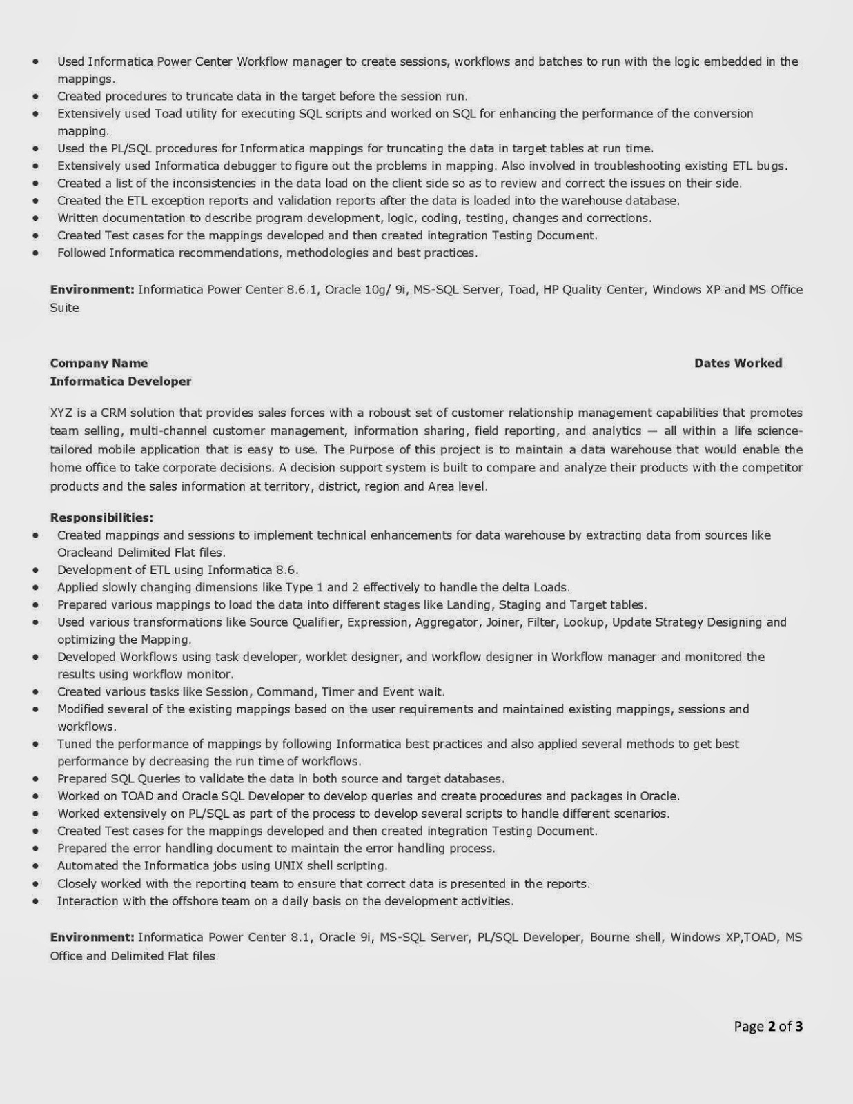 informatica developer resume application developer resume sample