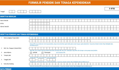 Formulir PTK-GTK SD-SMP-SMA-SMK 2018