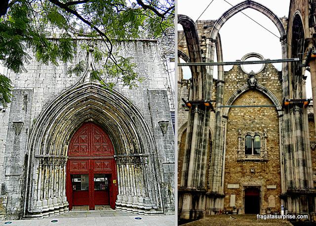 Porta principal e interior do Convento do Carmo, em Lisboa