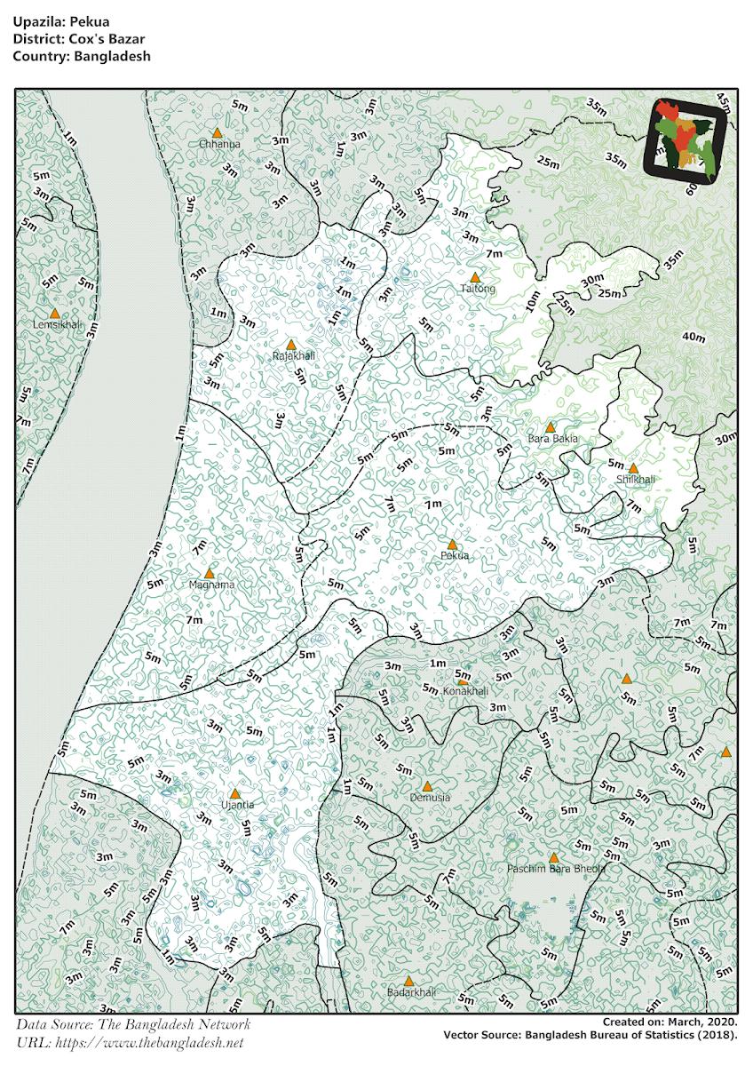 Pekua Upazila Elevation Map Cox's Bazar District Bangladesh