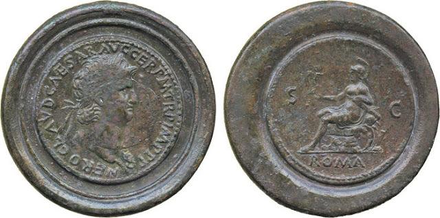 Medallón romano emperador Nerón