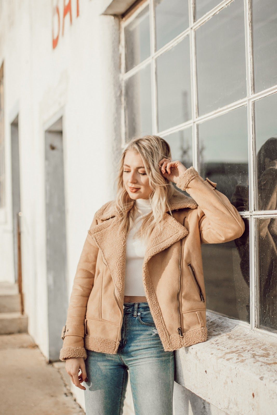 faux suede + shearling jacket