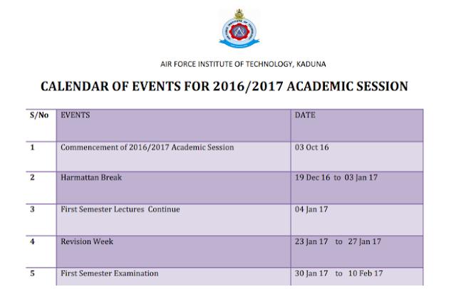AFIT Academic Calendar Schedule