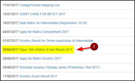 Bihar metric result