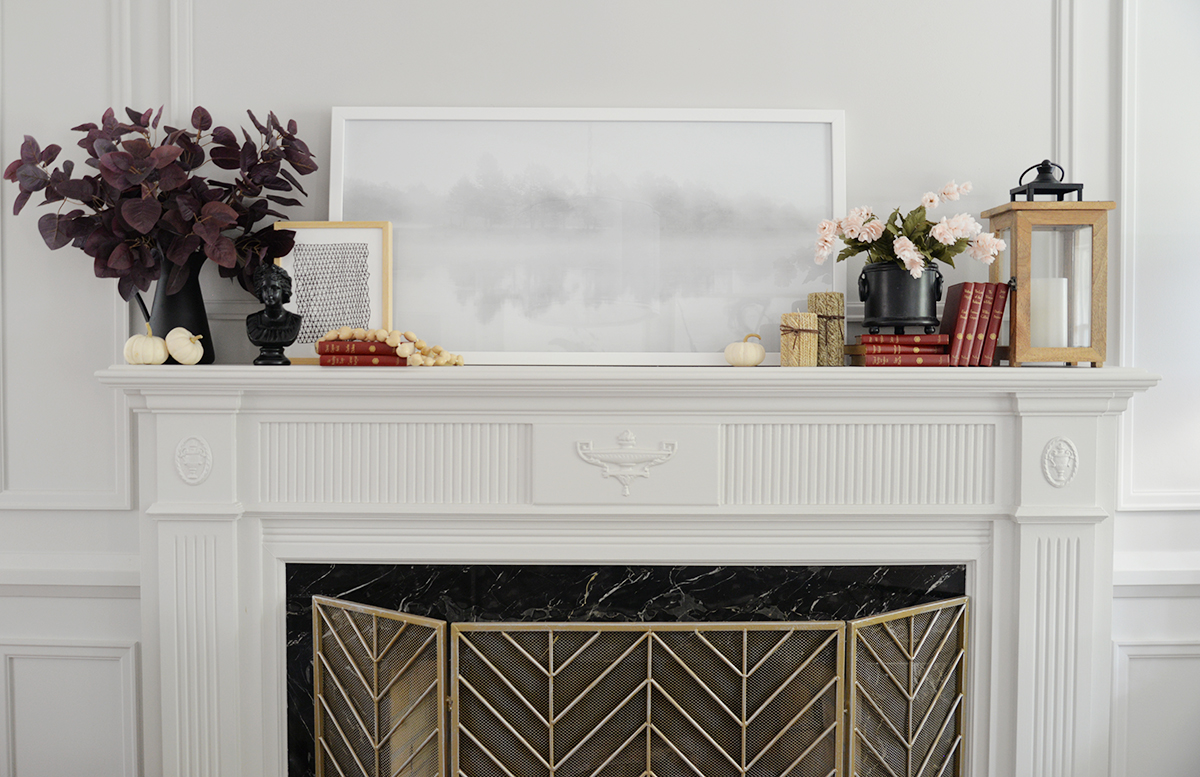 fireplace decor, fireplace mantel ideas, fall decorating ideas, red eucalyptus branch