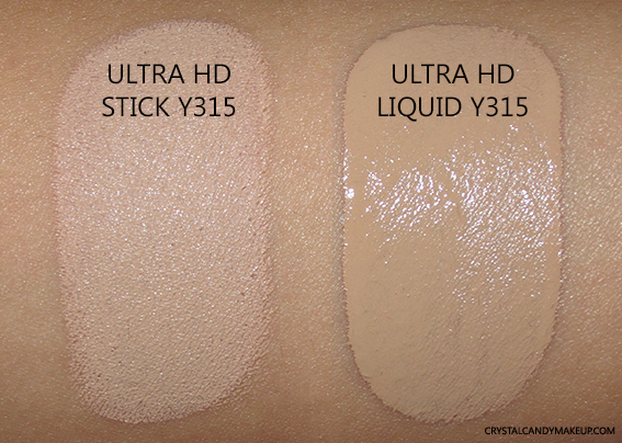 Make Up For Ever Ultra HD Stick VS Ultra HD Liquid Y315 Swatch