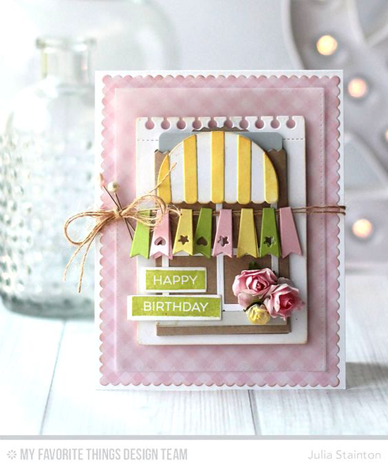 Handmade card from Julia Stainton featuring Label Maker Sentiments stamp set, Boutique Window, Blueprints 20, Creative Clips, and Label Tape Die-namics #mftstamps