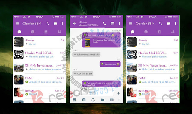download BBM Mod Purple Theme Terbaru V2.13.0.26 With Change Language