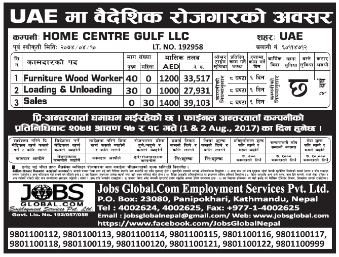 Jobs in UAE for Nepali, Salary Rs 39,103