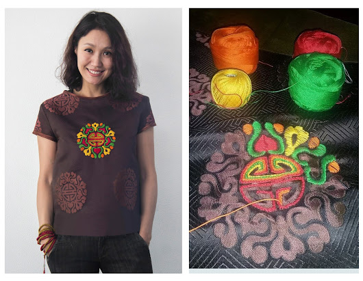 Embroidered t-shirt and necklace