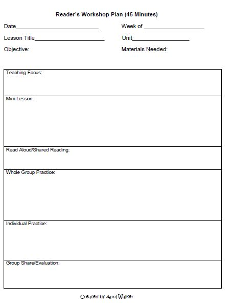 The idea backpack how to organize time in reading and for Writers workshop lesson plan template