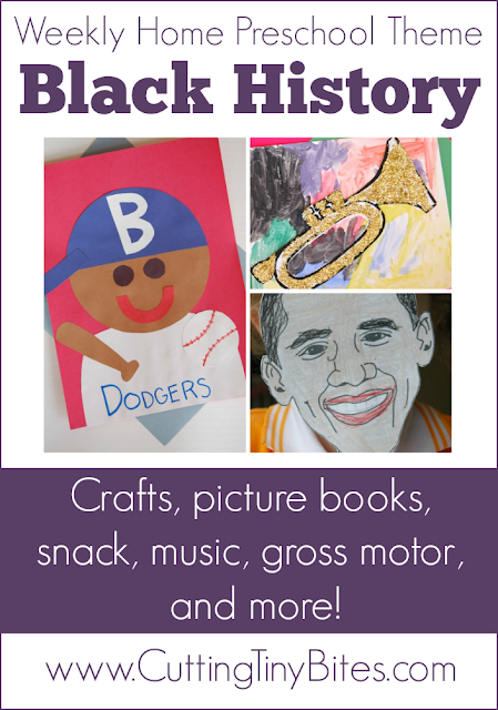Weekly theme unit for homeschool preschool on Black History. Crafts, picture books, gross motor, snack, and more! Perfect amount of activities for your kids for one week of EASY home Pre-K.