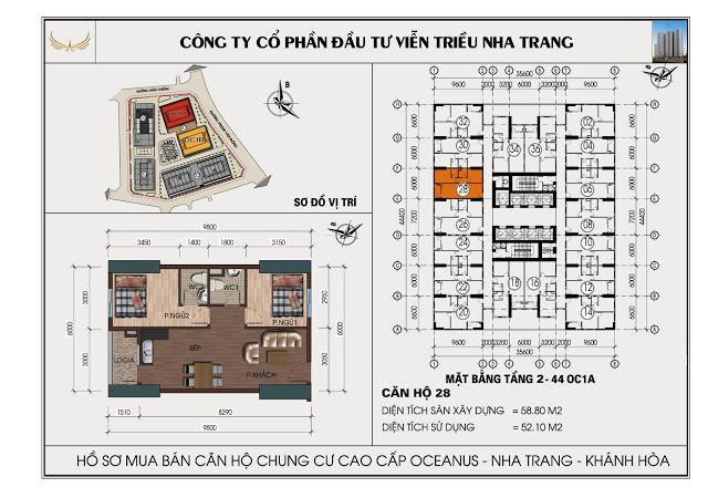 Sơ đồ căn hộ số 28  tòa OC1A Viễn Triều Nha Trang
