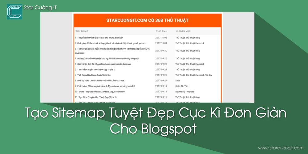 Tạo Sitemap Tuyệt Đẹp Cực Kì Đơn Giản Cho Blogspot