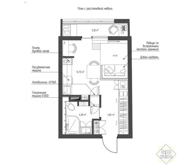 план и проект квартиры студии