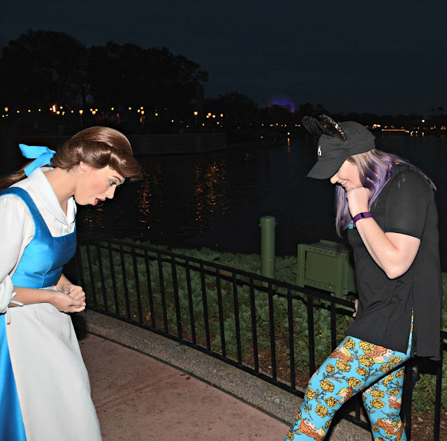 Celebrating my Birthday at the Magic Kingdom - Belle Admiring my Leggings at Epcot