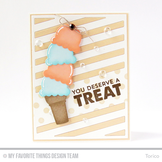 You Deserve a Treat Card by Torico featuring the Laina Lamb Design Stay Cool stamp set, Polka Dot Background stamp, and the  Diagonal Sentiment Strip Cover-Up and Lisa Johnson Designs Sweet Treats Die-namics #mftstamps