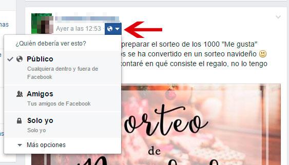 Compartir como público en Facebook