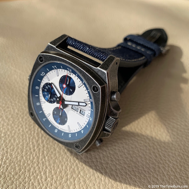 Jubileon Superellipse Chronograph Blue on White Vintage Gunmetal