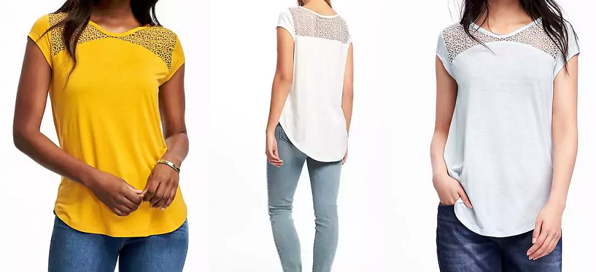 Old Navy Relaxed Lace-Yolk Tee $12 (reg $25)
