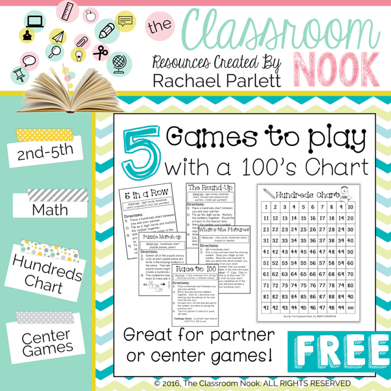 Check out this  FREE DOWNLOAD that includes 5 games to play with a hundreds chart #teachingmath #hundredschart