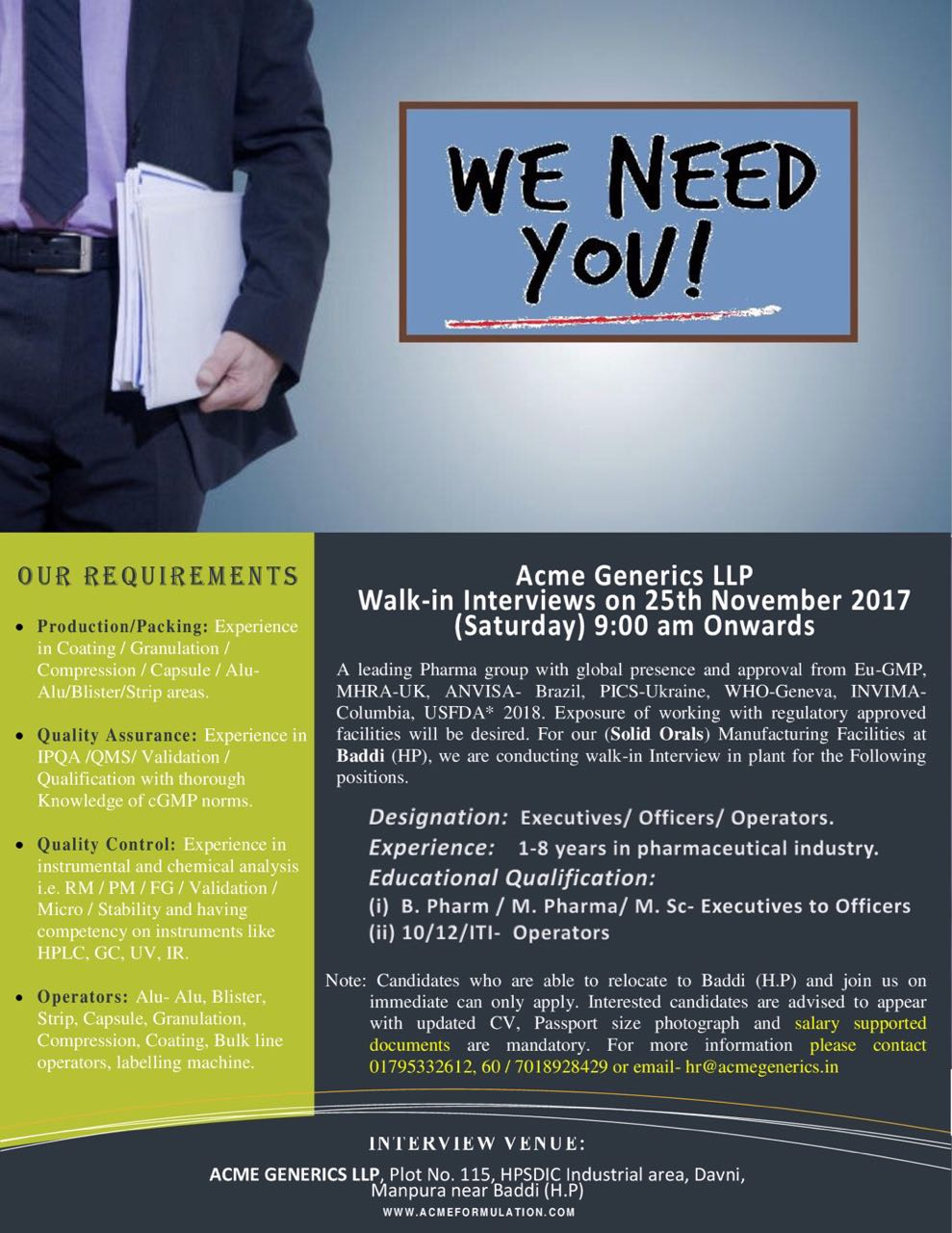 Pharma Vacancy: Walk in for Acme Generics Baddi 25th Nov 2017