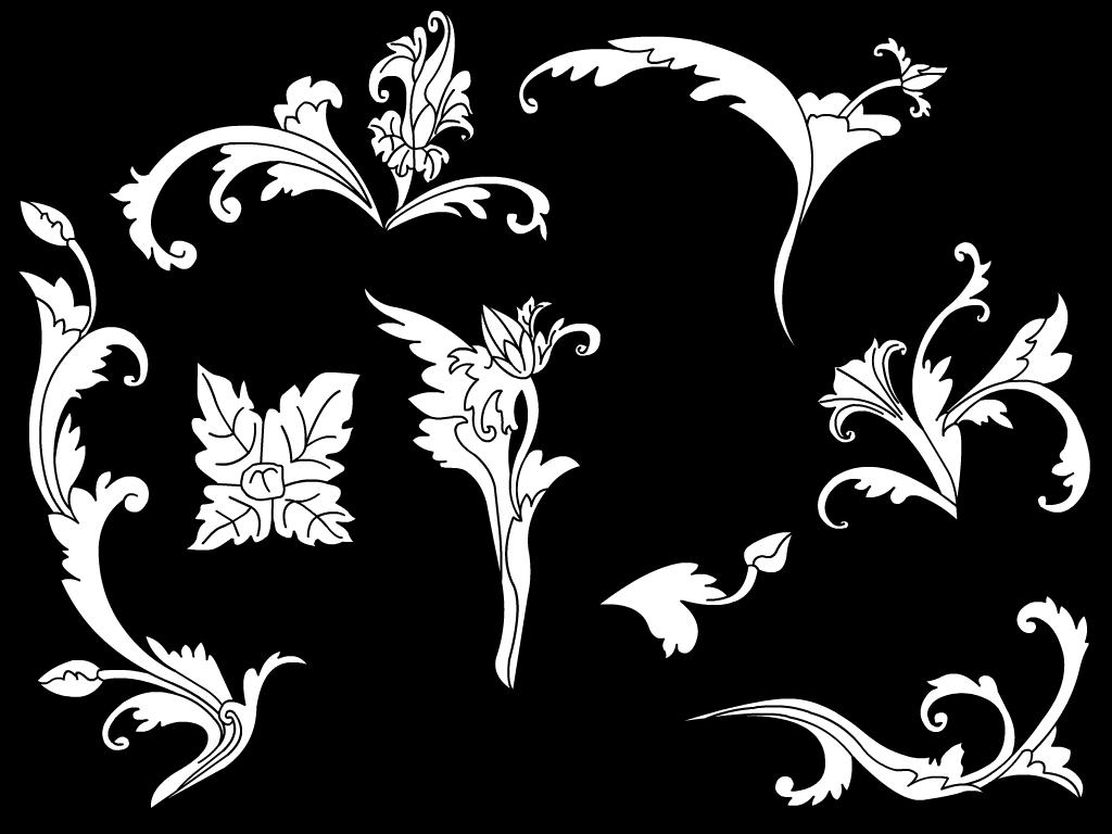Download Vector Batik Bunga Terompet Sulur Daun dan
