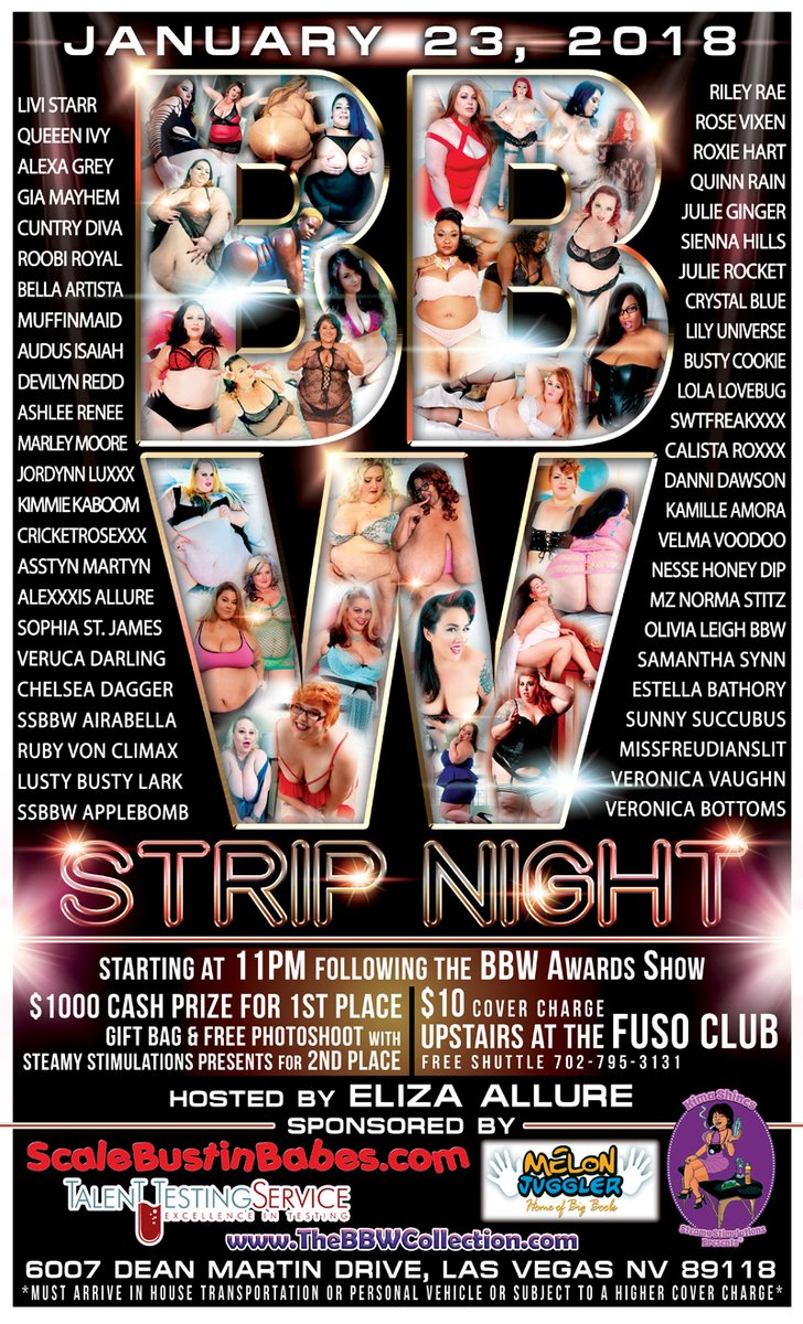 BBW STRIP NIGHT, JAN. 23RD, 2018 STARTS @11PM